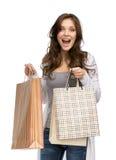 Счастливая дама с хозяйственными сумками Стоковое Изображение RF