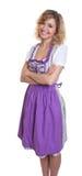 Счастливая баварская женщина с курчавыми белокурыми волосами Стоковая Фотография
