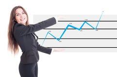 Счастливая бизнес-леди держа финансовую увеличивая диаграмму Стоковые Изображения RF