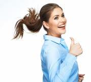 Счастливая бизнес-леди изолированная на белой предпосылке Стоковые Фото