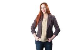 Счастливая бизнес-леди redhead стоковые фотографии rf