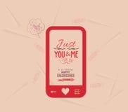 Счастливая валентинка с телефонным сообщением влюбленности иллюстрация штока