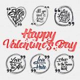Счастливая валентинка цитаты дня каллиграфические около Стоковые Изображения