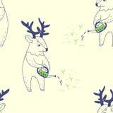 счастливая весна безшовная картина с милыми оленями Стоковые Фотографии RF
