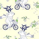 счастливая весна безшовная картина с милыми оленями Стоковые Изображения