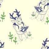 счастливая весна безшовная картина с милыми оленями Стоковая Фотография