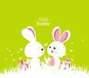 Счастливая весна зеленого цвета пасхи с парами и яичками зайчика Стоковое Изображение RF