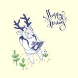 счастливая весна иллюстратор иллюстрации руки чертежа угля щетки нарисованный как взгляд делает пастель к традиционному Стоковые Изображения RF