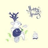 счастливая весна иллюстратор иллюстрации руки чертежа угля щетки нарисованный как взгляд делает пастель к традиционному Стоковая Фотография