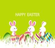 Счастливая весна пасхи с яичками и предпосылкой зайчика Стоковые Изображения RF