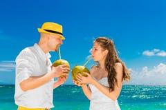 Счастливая вода кокоса питья жениха и невеста на тропическом пляже W Стоковые Фотографии RF
