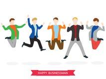 Счастливая высокая скача группа бизнесмена Стоковое Изображение RF
