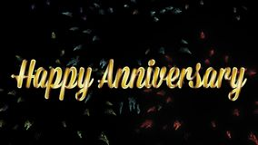 Счастливая годовщина в словах золота с фейерверками сток-видео