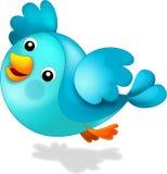 Счастливая голубая птица - иллюстрация для детей Стоковое Изображение