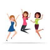Счастливая группа в составе скакать девушек Белая предпосылка Концепция приятельства, здорового образа жизни, успеха вектор Стоковое Изображение