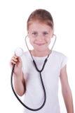 Счастливая девушка играя доктора Стоковая Фотография RF