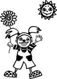 Счастливая девушка клоуна Иллюстрация вектора