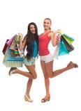 Счастливая девушка на покупках Стоковое Изображение RF