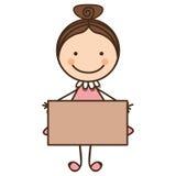 счастливая девушка с значком карточки Стоковое Изображение