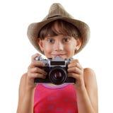 Счастливая девушка с камерой фильма Стоковые Изображения