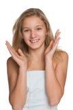 Счастливая девушка preteen против белизны Стоковая Фотография RF