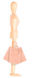 Счастливая деревянная кукла с хозяйственными сумками Стоковые Фотографии RF