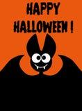 Счастливая летучая мышь хеллоуина на оранжевой предпосылке Стоковые Фотографии RF