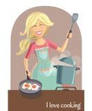 Счастливая женщина варя обед Бесплатная Иллюстрация