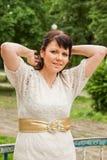 Счастливая женщина в свитере стоковые фотографии rf