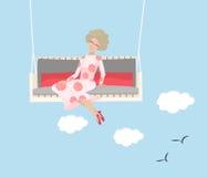 счастливая женщина качания усаживания бесплатная иллюстрация