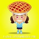 Счастливая женщина нося большой пирог Стоковое Изображение RF
