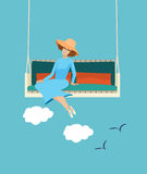 Счастливая женщина ослабляя в солнечности лета бесплатная иллюстрация