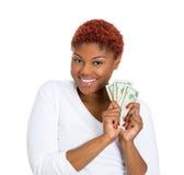 Счастливая женщина с наличными деньгами Стоковая Фотография RF