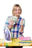 Счастливая женщина с долларами и железный показывать thumb вверх Стоковое Изображение