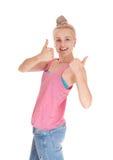 Счастливая женщина с thump вверх Стоковое Изображение