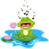 Счастливая зеленая лягушка поя Стоковые Изображения RF
