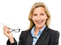 Счастливая зрелая бизнес-леди изолированная на белой предпосылке стоковая фотография rf