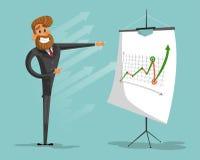 Счастливая диаграмма успеха brags бизнесмена или менеджера вектор изображения иллюстраций download готовый иллюстрация штока