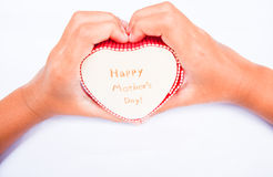 Счастливая изолированные коробка и рука сердца дня матерей Стоковые Фото