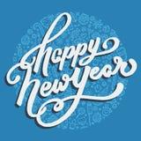 Счастливая литерность Нового Года на голубой предпосылке Стоковое Изображение