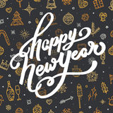 Счастливая литерность Нового Года на черной предпосылке Стоковые Фотографии RF