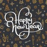Счастливая литерность Нового Года на черной предпосылке Стоковое фото RF