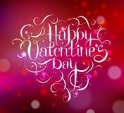 Счастливая литерность руки ДНЯ ` s валентинки иллюстрация штока