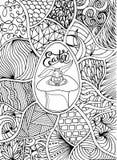 Счастливая литерность для поздравительной открытки, стиль пасхи doodle Страница расцветки Вручите вычерченную иллюстрацию для пас Стоковые Фото