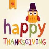 Счастливая иллюстрация благодарения с сычом в костюме паломника Стоковая Фотография RF