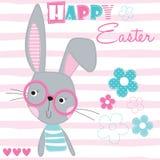 Счастливая иллюстрация вектора кролика зайчика пасхи Стоковые Изображения