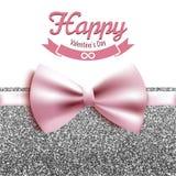 Счастливая иллюстрация вектора дня валентинки, карточка, открытка, серебряный яркий блеск Стоковые Изображения RF