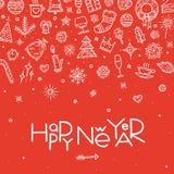 Счастливая иллюстрация вектора открытки Нового Года Стоковое Фото