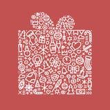 Счастливая иллюстрация вектора открытки подарка Нового Года Стоковое Фото