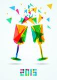 Счастливая иллюстрация 2015 вектора поздравительной открытки Нового Года иллюстрация вектора